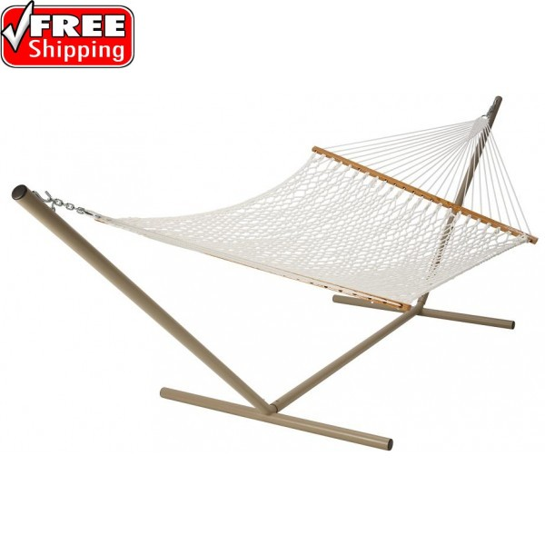 Castaway Deluxe White Polyester Rope Hammock