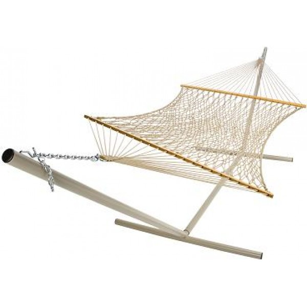 Castaway Deluxe Polyester Taupe Rope Hammock