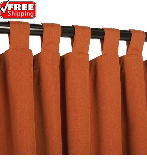 Sunbrella Outdoor Curtain With Tabs - Rust