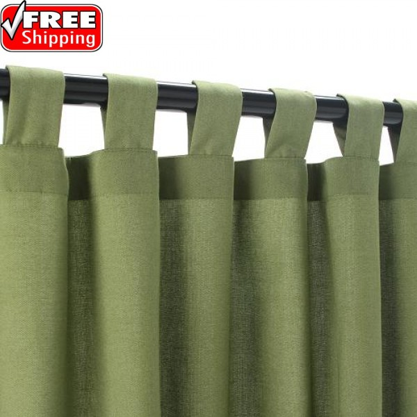 Sunbrella Outdoor Curtain With Tabs - Cilantro