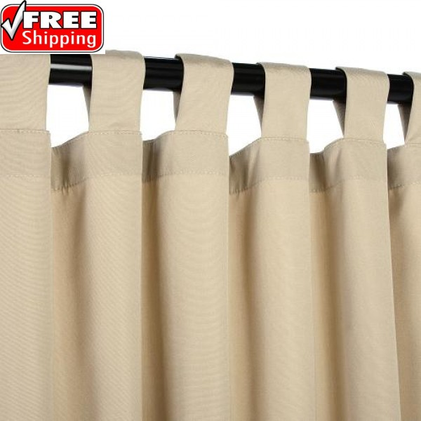 Sunbrella Outdoor Curtain With Tabs - Antique Beige
