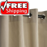 Sunbrella Outdoor Curtain with Nickel Grommets - Antique Beige