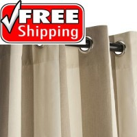 Sunbrella Outdoor Curtain with Nickel Grommets - Regency Sand
