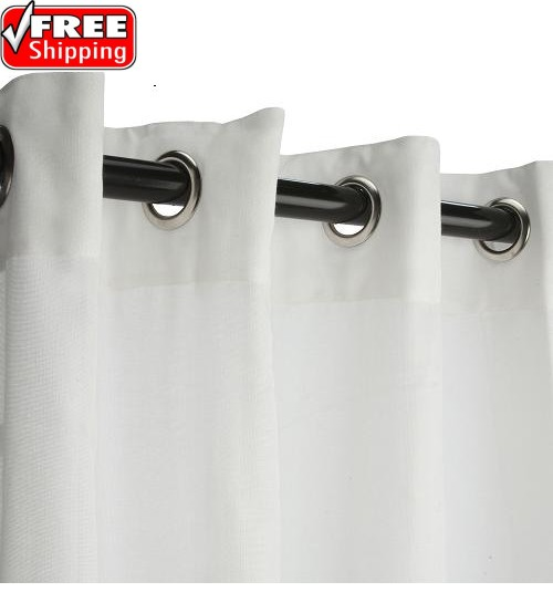 Sunbrella Outdoor Curtain with Nickel Grommets - Snow (Sheer)
