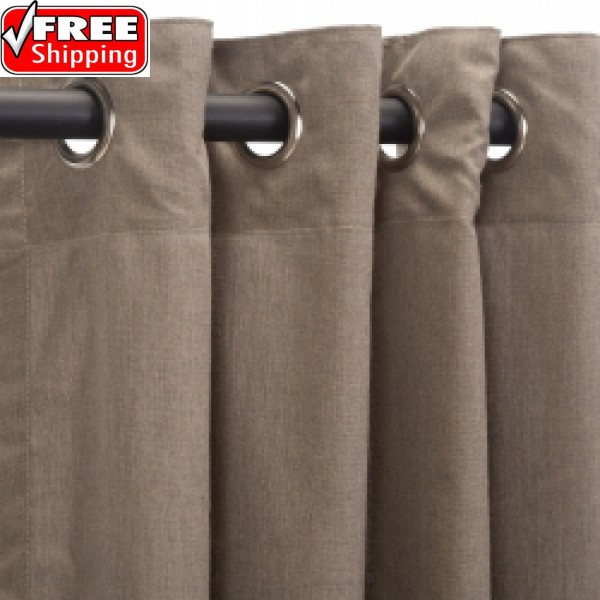 Sunbrella Outdoor Curtain with Nickel Grommets - Cast Shale