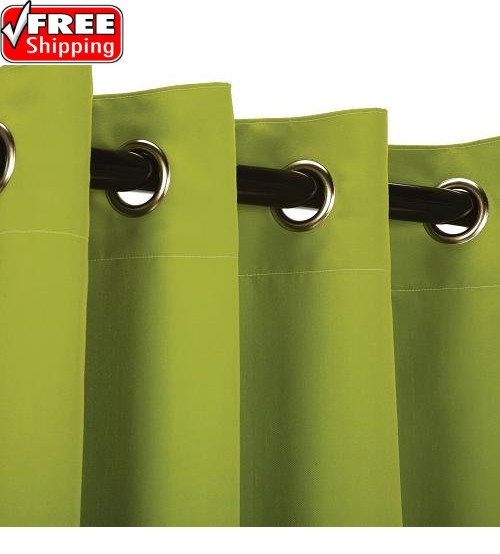 Sunbrella Outdoor Curtain with Stainless Steel Grommets - Canvas Macaw Green