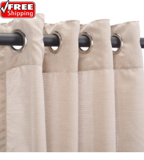 Sunbrella Outdoor Curtain with Nickel Grommets - Wren (SHEER)