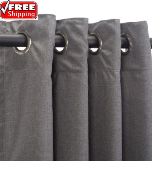 Sunbrella Outdoor Curtain with Nickel Grommets - Cast Slate