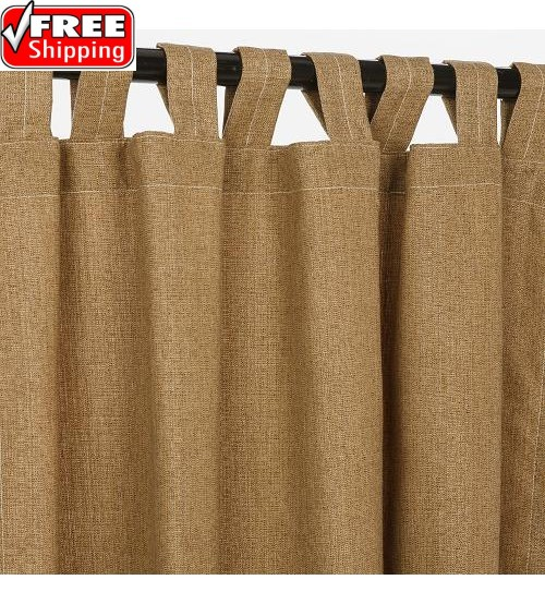 Sunbrella Outdoor Curtain With Tabs - Linen Sesame