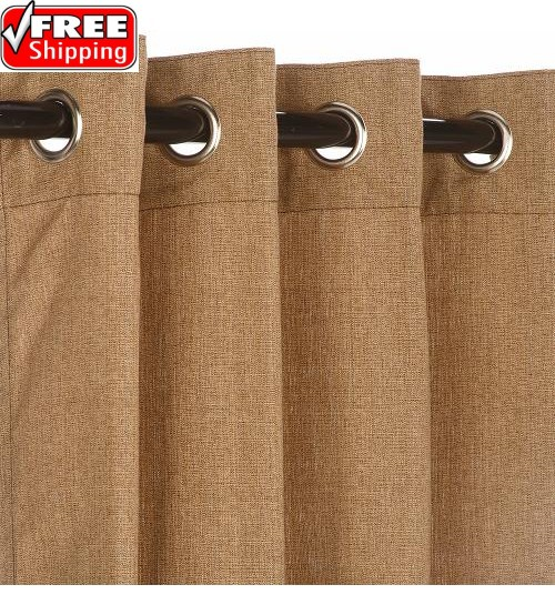 Sunbrella Outdoor Curtain with Nickel Grommets - Linen Sesame