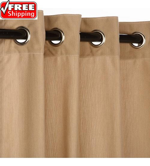 Sunbrella Outdoor Curtain with Nickel Grommets - Spectrum Sand