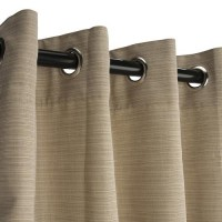 Sunbrella Outdoor Curtain with Nickel Grommets - Dupione Sand