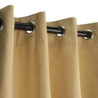 Sunbrella Outdoor Curtain with Nickel Grommets - Wheat