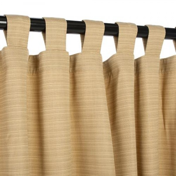 Sunbrella Outdoor Curtain With Tabs - Dupione Bamboo