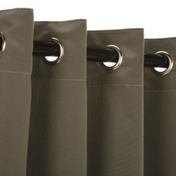 Sunbrella Outdoor Curtain with Stainless Steel Grommets - Canvas Charcoal