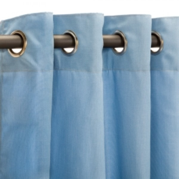 Sunbrella Outdoor Curtain with Nickel Grommets - Canvas Air Blue