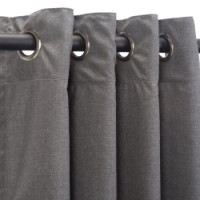 Sunbrella Outdoor Curtain with Nickel Grommets - Cast Slate