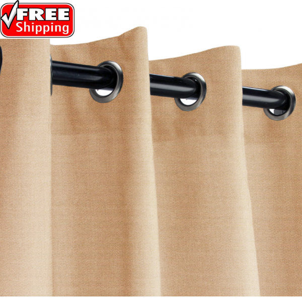 Sunbrella Outdoor Curtain with Nickel Grommets - Canvas Camel
