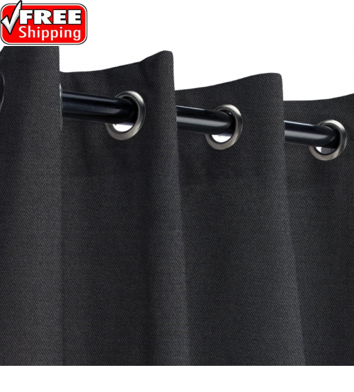 Sunbrella Outdoor Curtain with Nickel Grommets - Raven Black