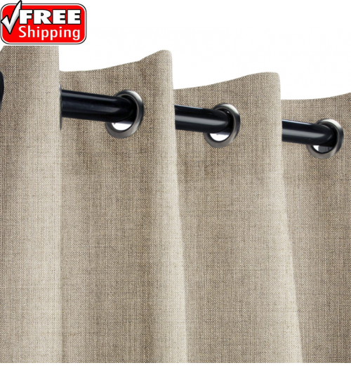 Sunbrella Outdoor Curtain with Stainless Steel Grommets - Cast Ash