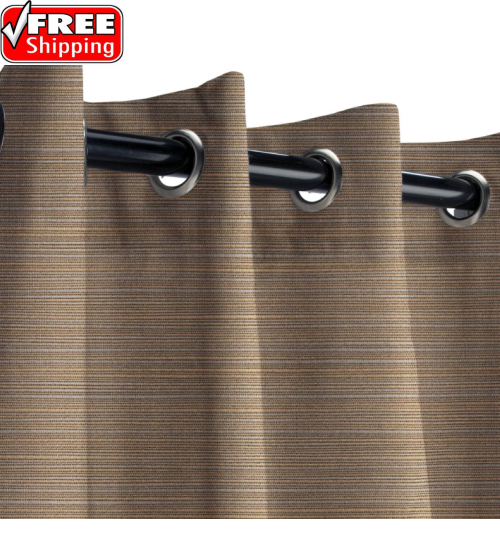 Sunbrella Outdoor Curtain with Nickel Grommets - Dupione Stone