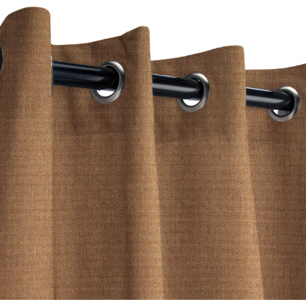 Sunbrella Outdoor Curtain with Nickel Grommets - Canvas Chestnut