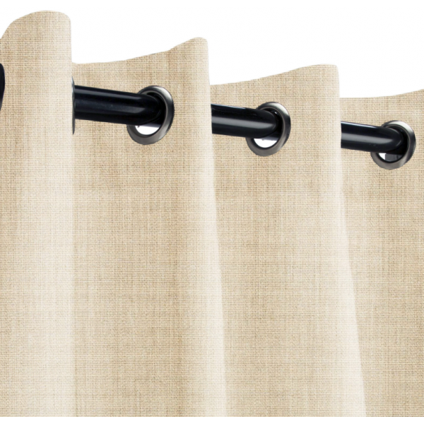 Sunbrella Outdoor Curtain with Stainless Steel Grommets - Canvas Flax