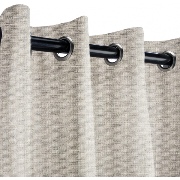 Sunbrella Outdoor Curtain with Nickel Grommets - Cast Silver