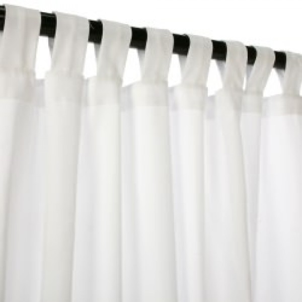 Sunbrella Outdoor Curtain with Tab Top - Canvas White