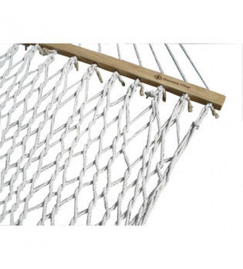 Single White Polyester Rope Hammock