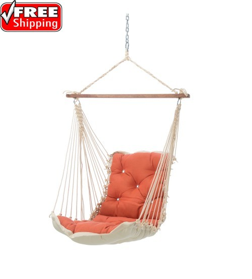 Tufted Single Swing - Sunbrella Echo Sangria