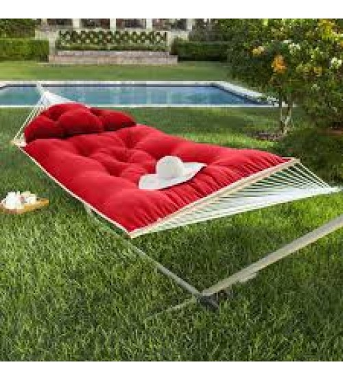 Hatteras Hammock Large Tufted Hammock - Sunbrella Jockey Red