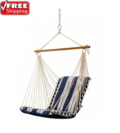 Pawleys Island Cushioned Single Swing - Anchor Navy