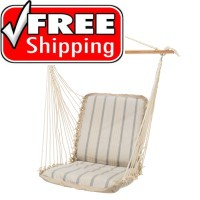 Pawleys Island Cushioned Single Swing - Sunbrella Cove Pebble