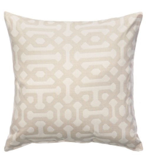 "Sunbrella 24x24"" Square Designer Pillow - Fretwork Flax"